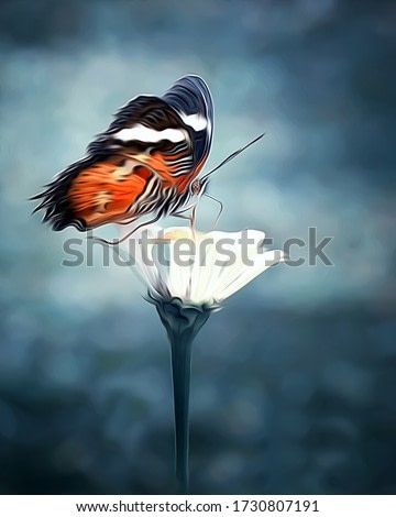 Beautiful Butterfly On A Flower - Oil Painting Series