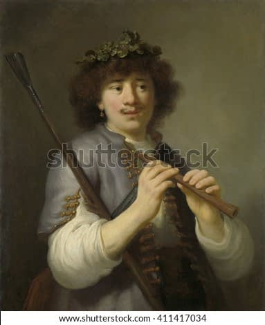 Rembrandt as Shepherd with Staff and Flute, Govert Flinck, 1636, Dutch painting, oil on canvas. Young Rembrandt painted with staff and flute in hands, with a wreath of leaves on his head and an earri