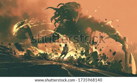 a medieval knight with his sword leapt into the fight against the giant, digital art style, illustration painting