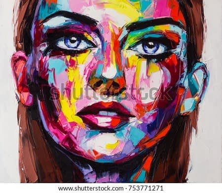 A colorful oil portrait of a fictional character, made with palette knife on canvas. All resemblence to real persons are coincidental.