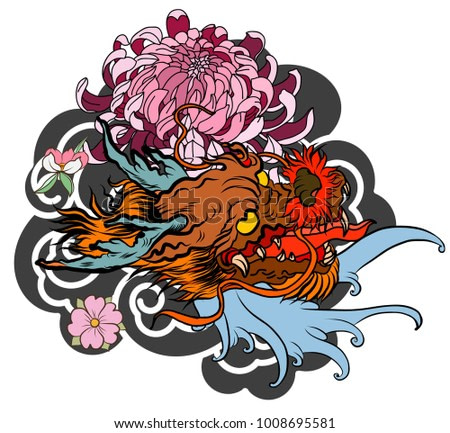 Japanese old dragon tattoo for arm.Hand drawn Dragon with peony flower,lotus,rose and chrysanthemum flower and water splash or Japanese wave traditional style.vector illustration Chinese dragon.