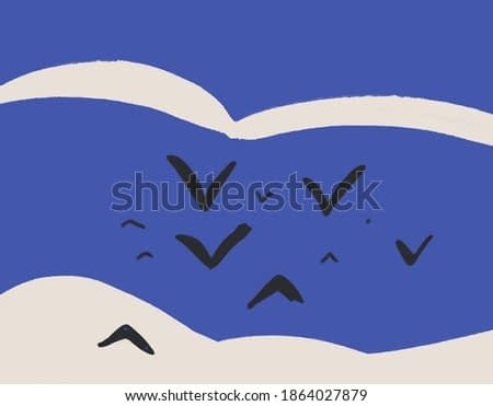 Black Group of birds fly in Calm sky and cloud. Minimalist illustration and trendy art. Simple art and Harmonious illustration. for print and poster.
