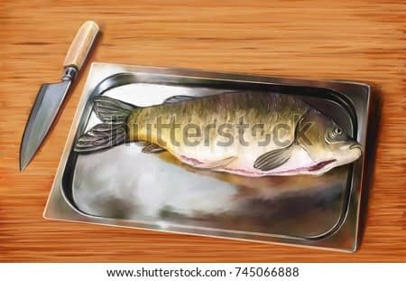 Still life paintings, fine art .Fresh fish on a cutting board. Knife for cutting raw fish on a light wooden background. Top view.