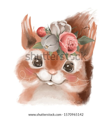 Cute hand drawn squirrel in floral wreath, flowers bouquet, woodland watercolor animal portrait