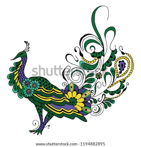 Peacock in the style of mehndi on a white background.