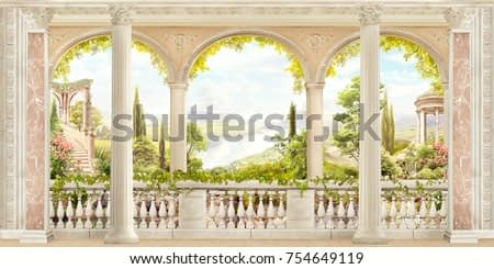 Antique landscape balcony view