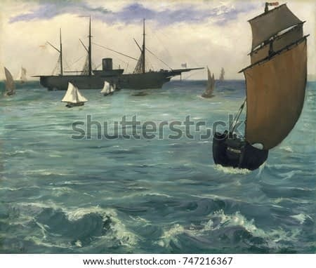 The Kearsarge at Boulogne, by Edouard Manet, 1864, French impressionist painting, oil on canvas. USS Kearsarge, an anchored American warship, after she sank the CSS Alabama off the French coast