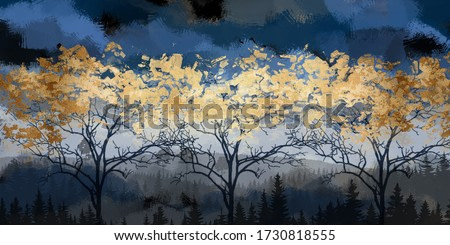 3d illustration of forest at night. Luxurious abstract art digital painting for wallpaper