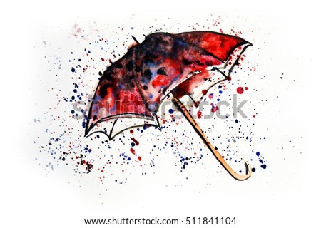 Watercolor painting of umbrella and water splashes