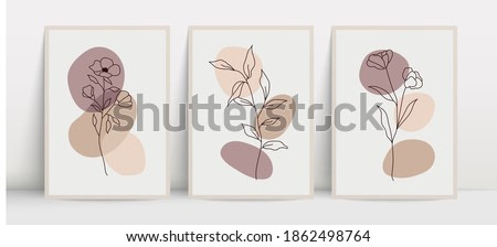 Botanical wall art vector set. Floral and foliage line art drawing with abstract shapes. Abstract plants art design for print, cover, wallpaper, wall art. Vector illustration.