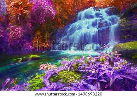 Amazing fantasy deep forest with  beautiful waterfalls pictures in tropical, for room decoration and relaxation. Abstract  oil painting.
