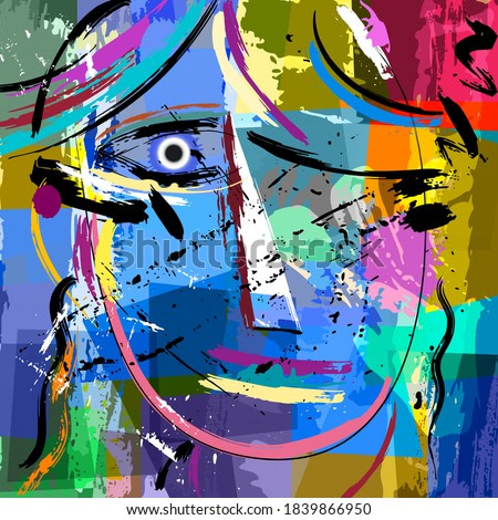 abstract background composition, with paint strokes and splashes, face/mask