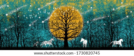 3d illustration of forest and white horse. Luxurious abstract art digital painting for wallpaper