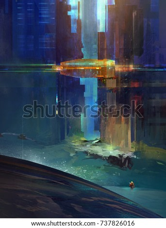 Sketch fantastic city with the researcher. The urbanized landscape of the future. Cyberpunk.