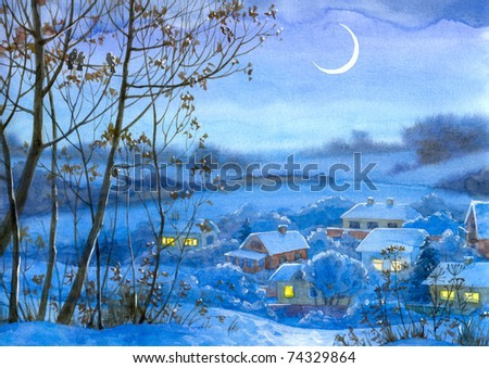 Watercolor landscape. Lighted windows in homes of quiet snowy winter's night