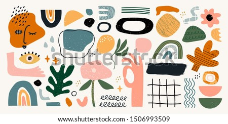 Big set of hand drawn various shapes and doodle objects. Abstract contemporary modern trendy vector illustration. All elements are isolated