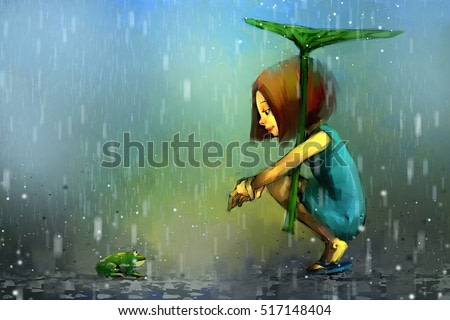 digital painting of girl sheltering under leaf in rain, acrylic on canvas texture