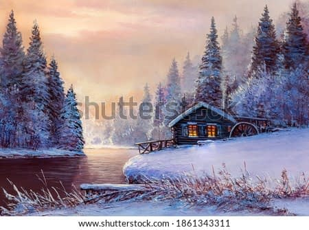 Old water mill near a  river and snow-covered trees,oil painting, fine art.