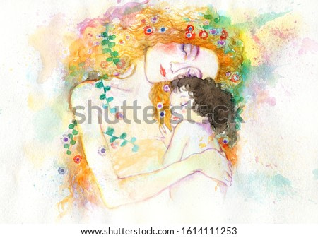woman and child. illustration. watercolor painting