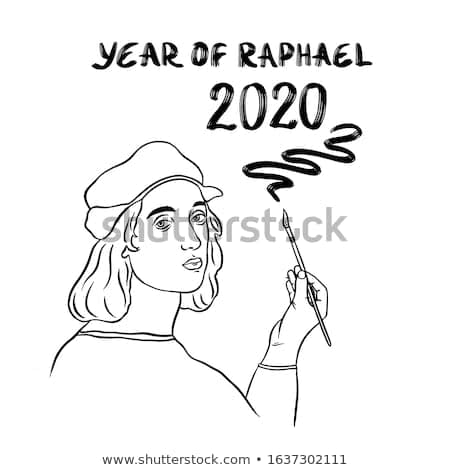 Vector illustration for the celebration of the 500th anniversary of the death of the famous artist and architect. 2020 - the year of Raphael Santi. Isolated figure on a white background. Poster.