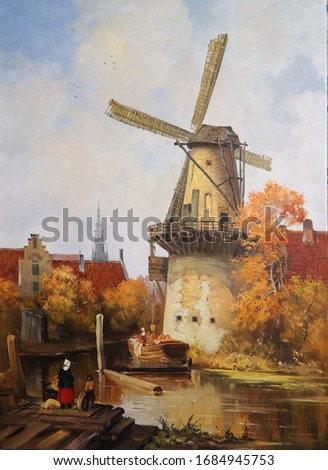 autumn landscape with a windmill on the shore,oil painting, fine art, windmill, city landscape, figures of people, autumn, architecture, nature