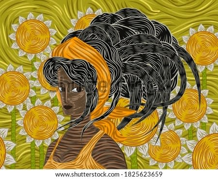 expressionist scene african girl with sunflowers