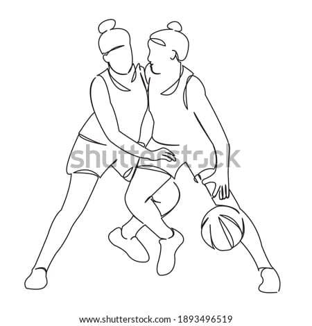 One continuous single drawing line art doodle girl, basketball, young, ball, sport. Isolated flat illustration hand draw contour on a white background