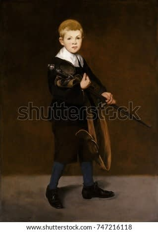 Boy with a Sword, by Edouard Manet, 1861 French impressionist painting, oil on canvas. Manet\x90s stepson, 10 year old Leon Koella-Leenhoff, posed for this painting