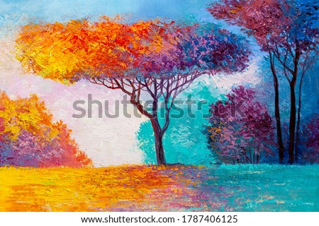 Oil painting landscape - colorful autumn forest. Hand Painted Impressionist.