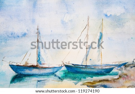 Ships in the sea, watercolor painting