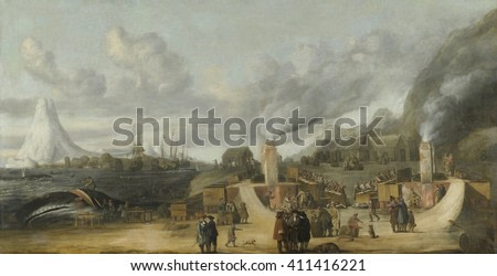 Whale-oil Refinery near Village of Smerenburg, by Cornelis de Man, 1639, Dutch painting. Painting of Dutch whaling settlement on Spitsbergen Island. The artist never saw the place, but constructed th