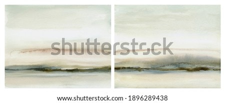Abstract watercolor landscape painting collection in neutral gray and brown, hand drawn original painting on paper