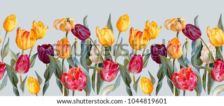Floral horizontal border.Colorful tulips on on a light blue backgroundd.Botanical illustration. Watercolor painting.