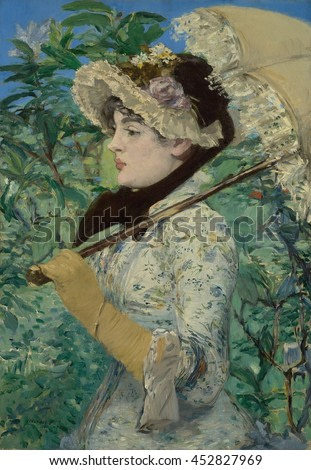 Jeanne (Spring), by Edouard Manet, 1881, French painting, oil on canvas. Portrait of aspiring Parisian actress, Jeanne Demarsy, as the embodiment of Spring. The painting was accepted into the Paris S