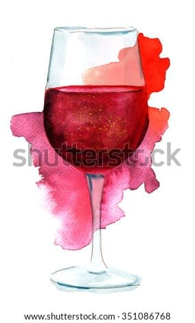 Wine collage with a watercolor drawing of a glass of red wine with a watercolor stain, on white background
