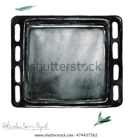 Watercolor Kitchenware Clipart - Baking Sheet