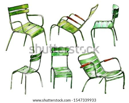 Watercolor sketch of typical Paris park chairs. Hand painted set of street furniture. For print, posters, card making and travel design.