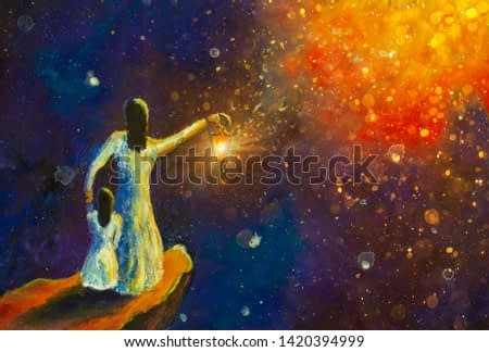 beautiful scenery, showing mother and daughter at cliff in night starry sky, woman holding glowing lantern, style acrylic art, illustration, oil painting