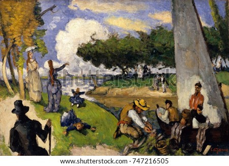 Fishermen , by Paul Cezanne, 1875, French Post-Impressionist oil painting. This imagined scene of fishermen, alongside bourgeois strollers, and activity depicted by mid-19th century French Realist and