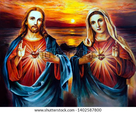 Jesus Christ and Mary with heart. Oil painting
