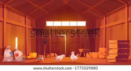 Barn interior with chicken, farm house inside view. Wooden ranch with haystacks, sacks, fork, huge gate and window under roof. Traditional countryside storehouse building Cartoon vector illustration