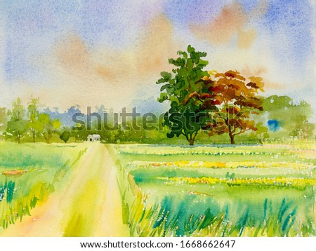 Watercolor landscape painting colorful of natural beauty flowers tree and mountain forest with sky cloud  background in beautiful nature spring season. Painted impressionist, illustration image