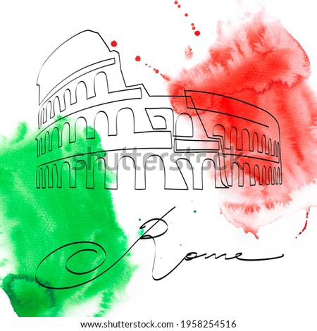 Colosseum - symbol of Rome and Italy, continuous line drawing, over watercolor painting in italian national flag colors. Ancient theater, cultural, architectural and historical sight