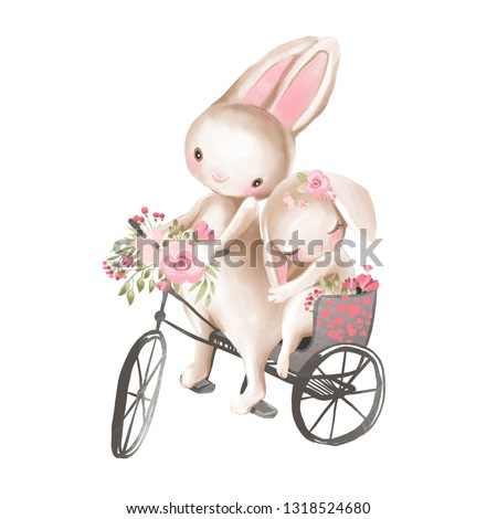 Cute watercolor baby boy and girl bunnies in a bicycle with flowers, floral wreath, bouquet