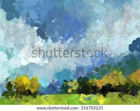 abstract digital painting of trees and meadow, oil on canvas texture