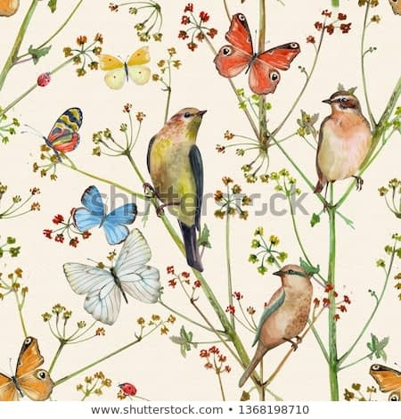 vintage nature seamless texture with birds and butterflies. watercolor painting