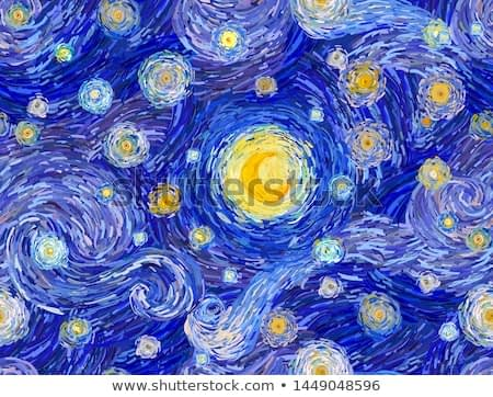 Glowing moon and starry sky and clouds abstract background. Seamless vector pattern in the style of impressionist paintings.