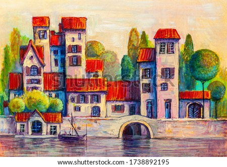 Colorful town near the sea. Oil painting cityscape.