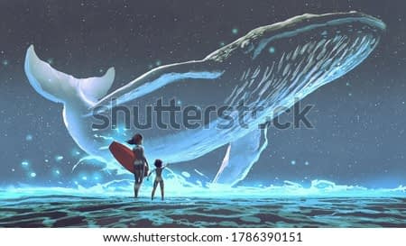 mother and daughter looking at the whale with blue light flying in the night sky, digital art style, illustration painting