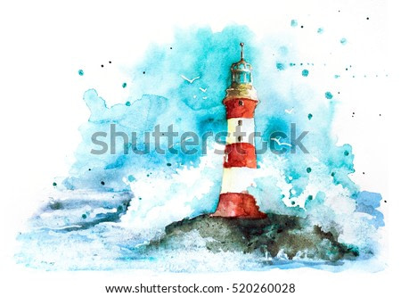 watercolor red and white lighthouse in the ocean with great waves and blue sky isolated on white